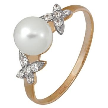 кольцо c жемчугом из красного золота 11624413