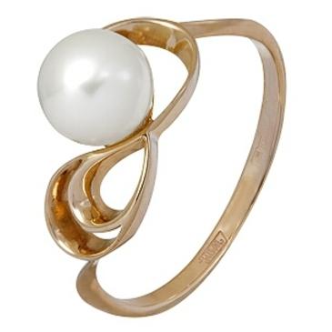кольцо c жемчугом из красного золота 11604385