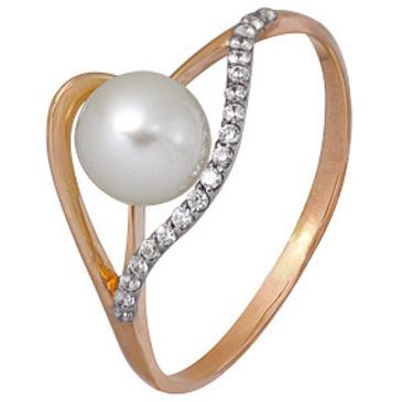 кольцо c жемчугом из красного золота 1880202439