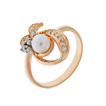 кольцо c жемчугом из красного золота 12637701