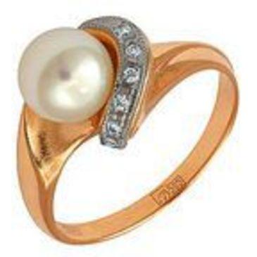 кольцо c жемчугом из красного золота 1263220