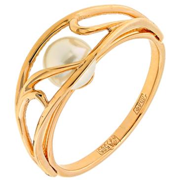 кольцо c жемчугом из красного золота 11603254