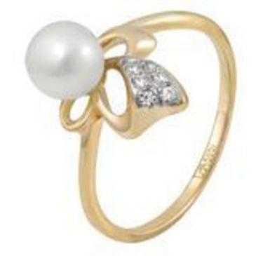 кольцо c жемчугом из красного золота 11623283