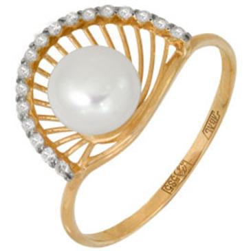 кольцо c жемчугом из красного золота 11628079
