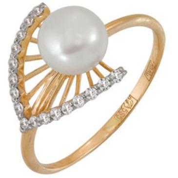 кольцо c жемчугом из красного золота 11628080