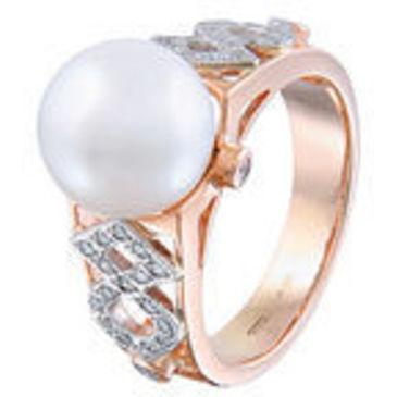 кольцо c жемчугом из красного золота 12633186