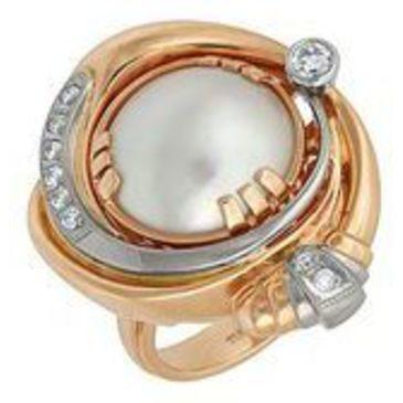 кольцо c жемчугом из красного золота 1263558