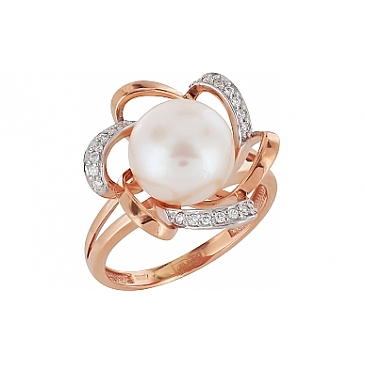 Кольцо с бриллиантом и жемчугом из красного золота 104371
