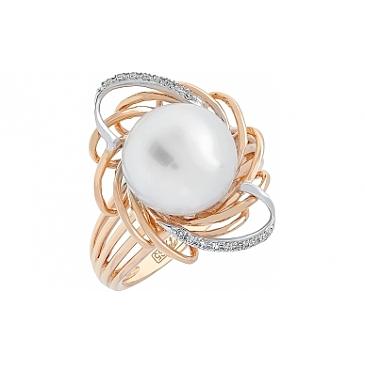 Кольцо с бриллиантом и жемчугом из красного золота 113726