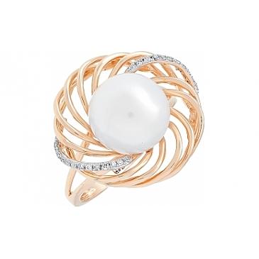 Кольцо с бриллиантом и жемчугом из красного золота 113761