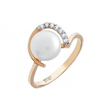 Кольцо с бриллиантом и жемчугом из красного золота 96853