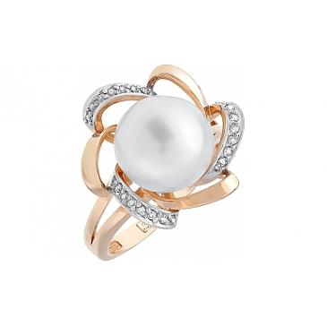 Кольцо с бриллиантом и жемчугом из красного золота 100031