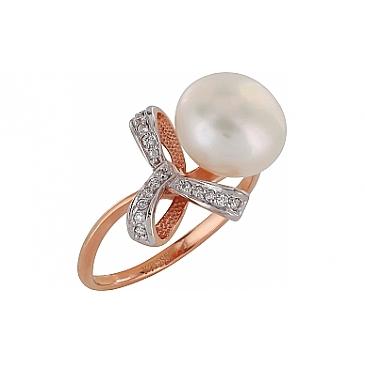 Кольцо с бриллиантом и жемчугом из красного золота 100046