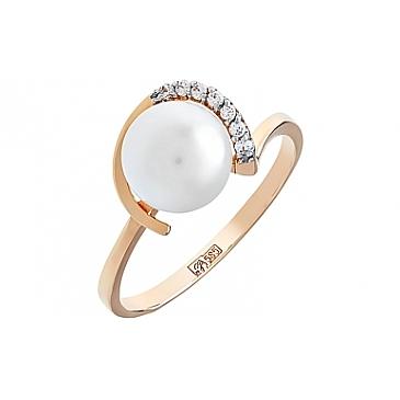 Кольцо с жемчугом и фианитом из красного золота 105703