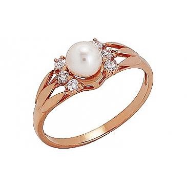 Кольцо с жемчугом и фианитом из красного золота 74154