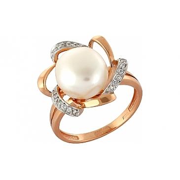 Кольцо с жемчугом и фианитом из красного золота 99696