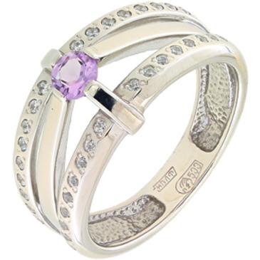 кольцо c аметистом и фианитами из палладия 10123232