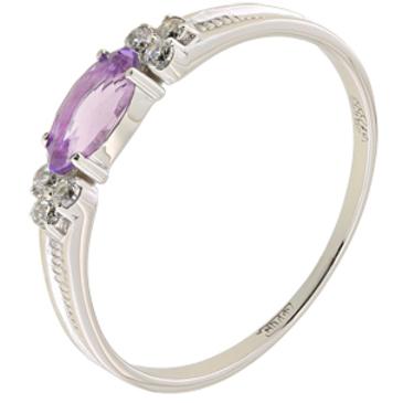 кольцо c аметистом из палладия 10127444