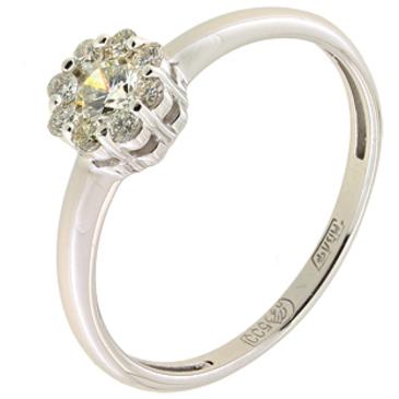 кольцо c бриллиантами из палладия 10038158