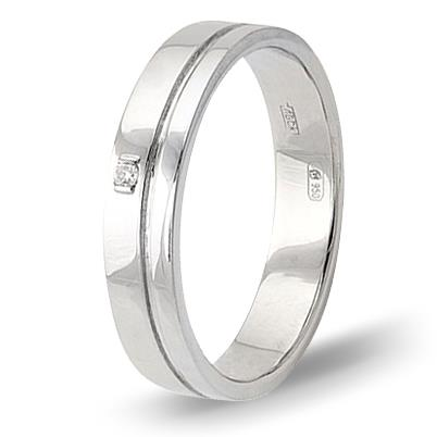 кольцо обручальное c бриллиантом из палладия 10037606