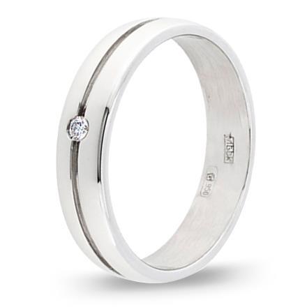 кольцо обручальное c бриллиантом из палладия 10037609
