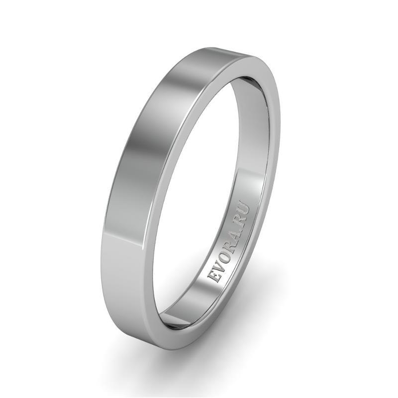 Классическое обручальное кольцо шириной 3 мм из платины W13Pt