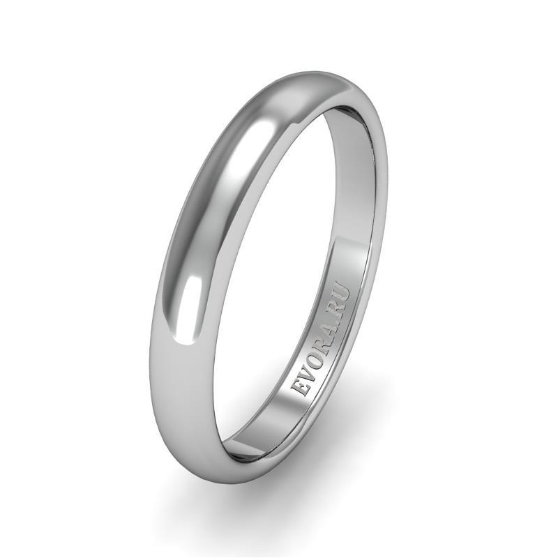 Классическое обручальное кольцо шириной 3 мм из платины W23Pt