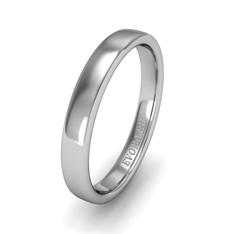 Классическое обручальное кольцо шириной 3 мм из платины W33Pt