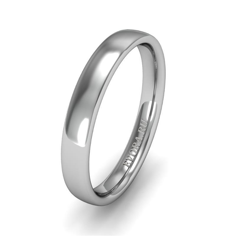 Классическое обручальное кольцо шириной 3 мм из платины W43Pt