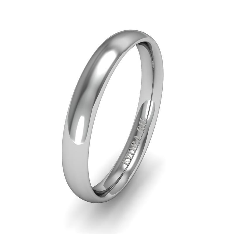 Классическое обручальное кольцо шириной 3 мм из платины W63Pt
