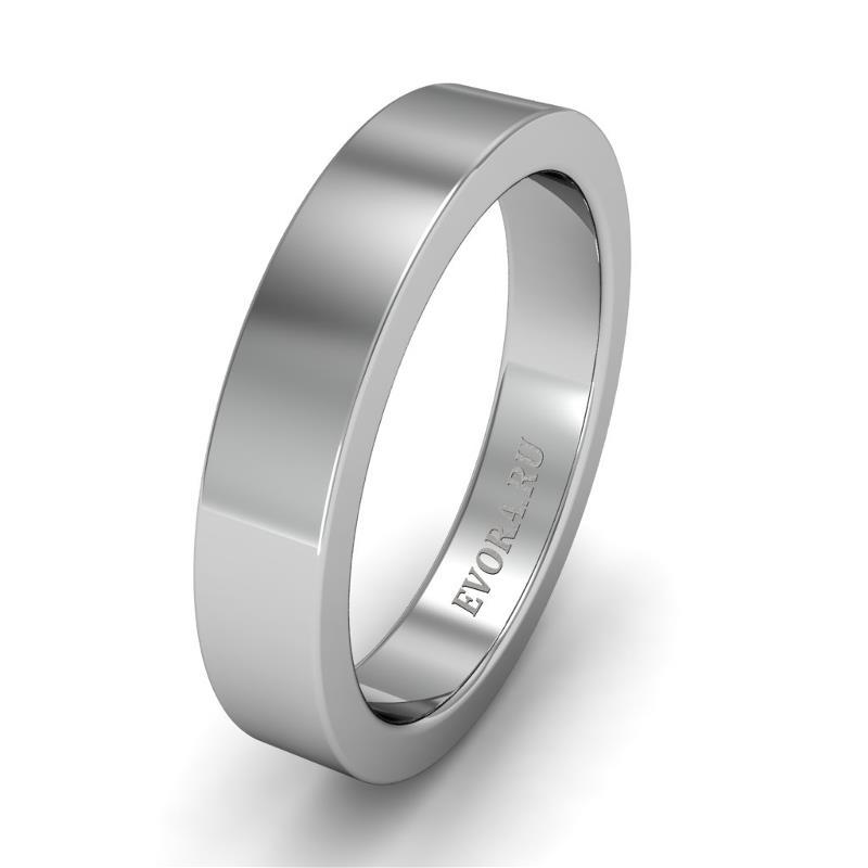 Классическое обручальное кольцо шириной 4 мм из платины W14Pt