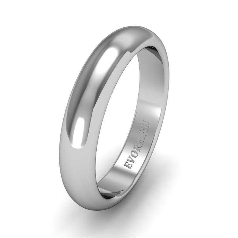 Классическое обручальное кольцо шириной 4 мм из платины W24Pt