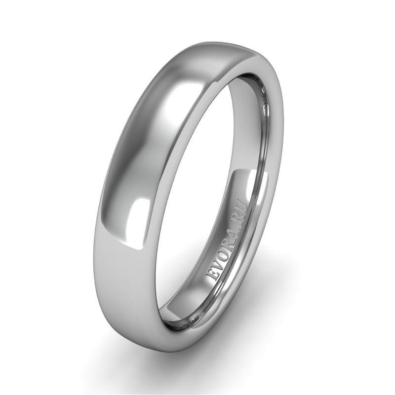 Классическое обручальное кольцо шириной 4 мм из платины W34Pt