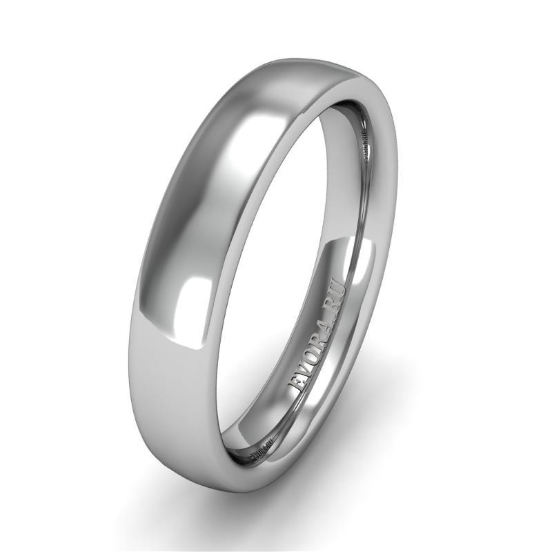 Классическое обручальное кольцо шириной 4 мм из платины W44Pt