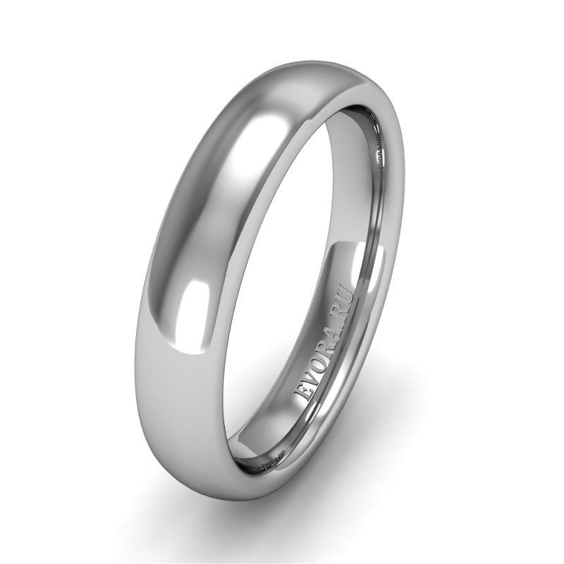 Классическое обручальное кольцо шириной 4 мм из платины W54Pt