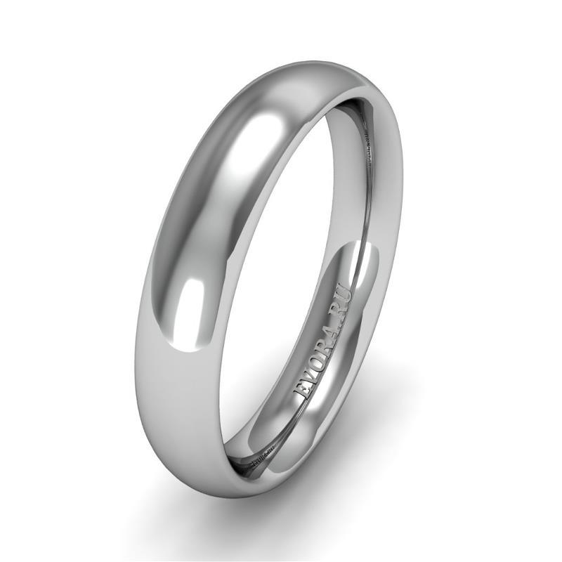 Классическое обручальное кольцо шириной 4 мм из платины W64Pt