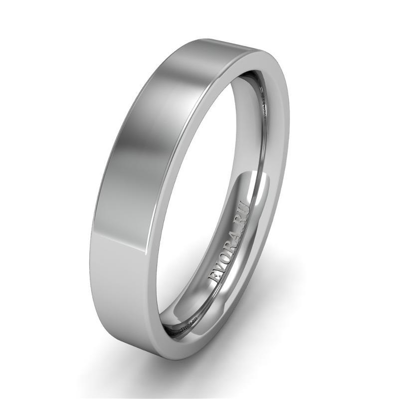 Классическое обручальное кольцо шириной 4 мм из платины W74Pt