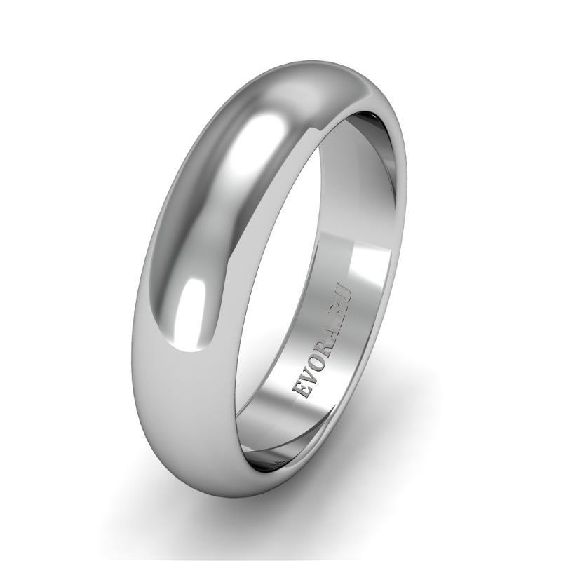 Классическое обручальное кольцо шириной 5 мм из платины W25Pt