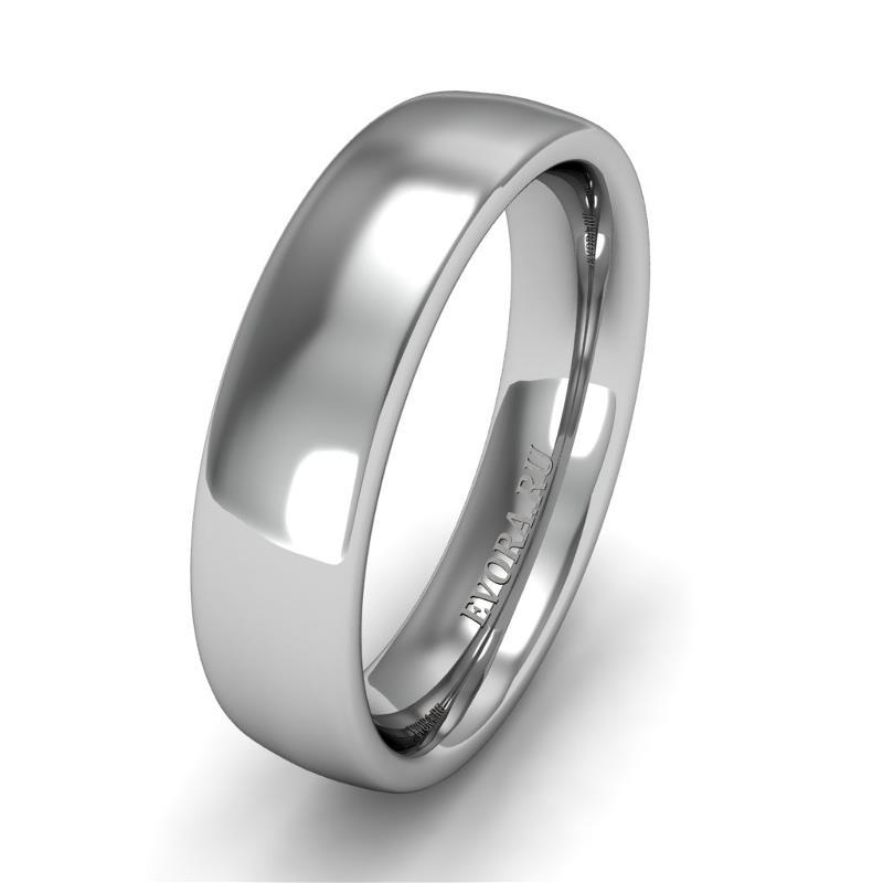 Классическое обручальное кольцо шириной 5 мм из платины W45Pt