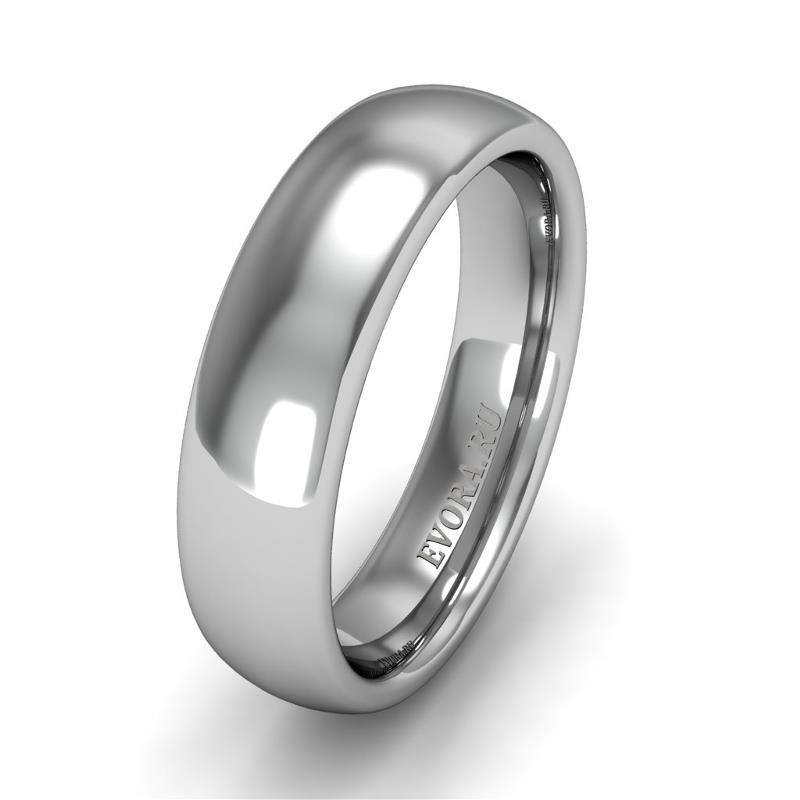 Классическое обручальное кольцо шириной 5 мм из платины W55Pt