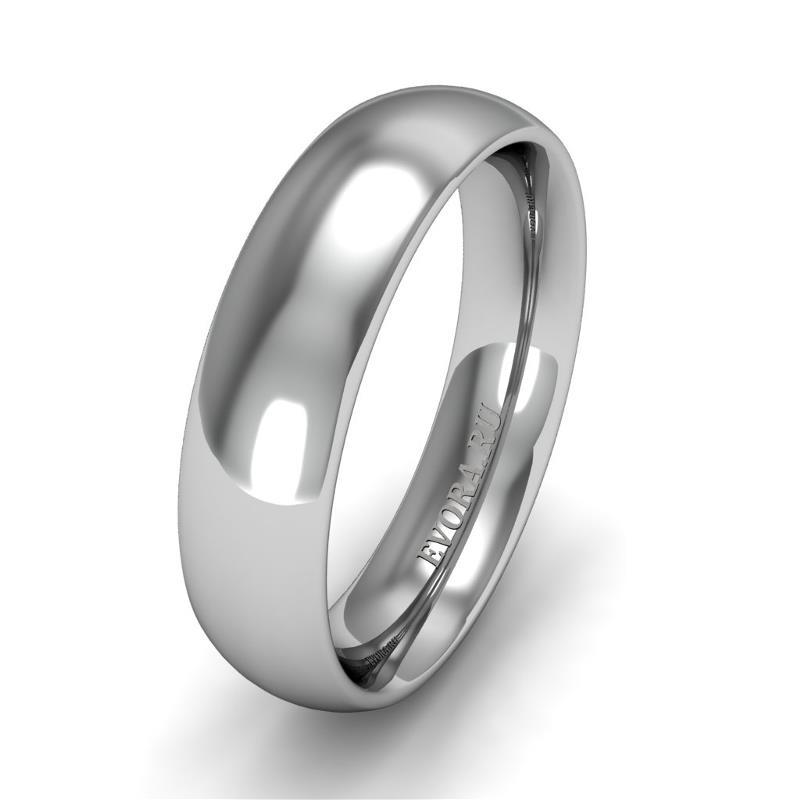 Классическое обручальное кольцо шириной 5 мм из платины W65Pt