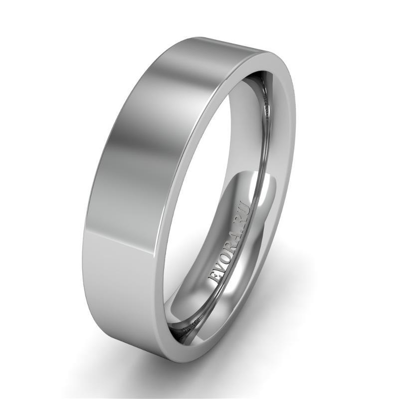 Классическое обручальное кольцо шириной 5 мм из платины W75Pt