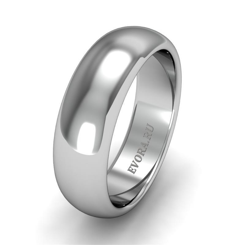 Классическое обручальное кольцо шириной 6 мм из платины W26Pt