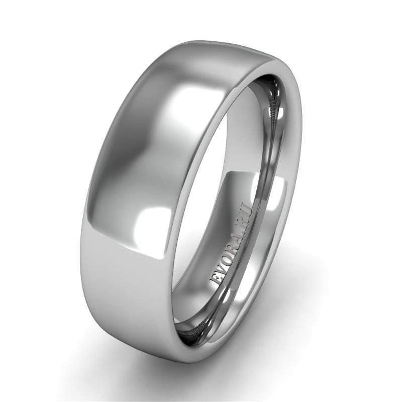 Классическое обручальное кольцо шириной 6 мм из платины W46Pt