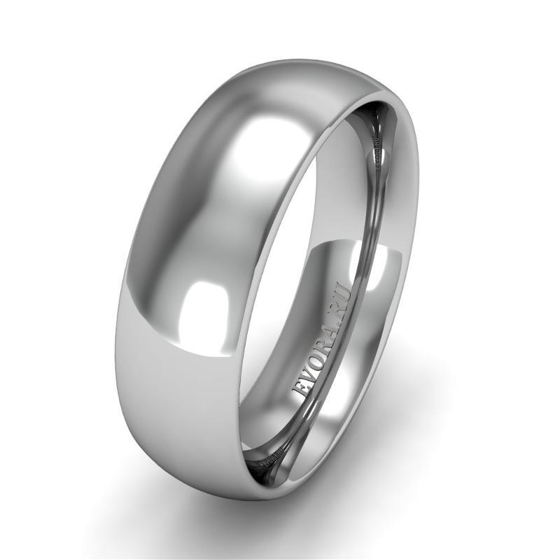 Классическое обручальное кольцо шириной 6 мм из платины W66Pt