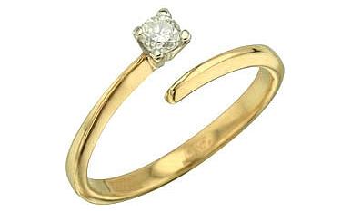 Кольцо с Бриллиантом Белое золото 585 пробы.  Вставки: 1 бриллиант...