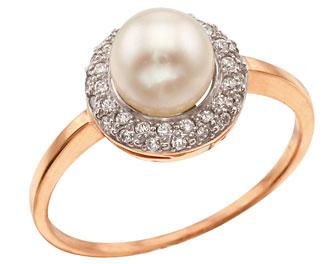 кольцо золото платина с цирконом