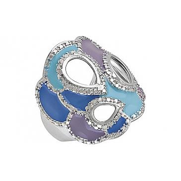 Кольцо с фианитом и эмалью из серебра 120832