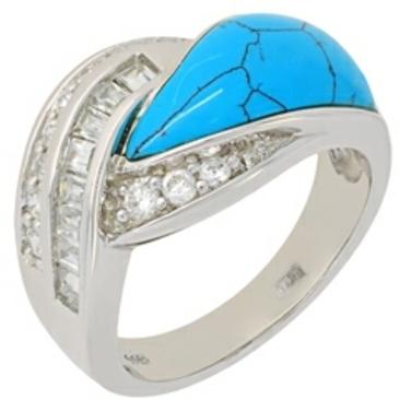 кольцо c бирюзой из серебра t327r