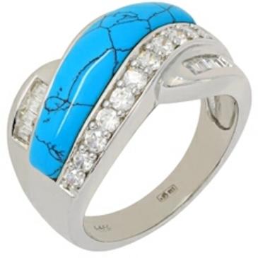 кольцо c бирюзой из серебра t316r от EVORA